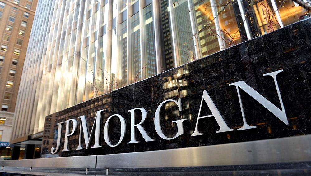 Fachada del edificio del banco JPMorgan en Nueva York, Estados Unidos.