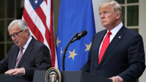 President Donald Trump and European Commission President Jean-Claude Juncker deliver a joint statement on trade in the Rose Garden on July 25, 2018. Win McNamee/Getty Images