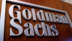 A Goldman Sachs sign is displayed inside the company's post on the floor of the New York Stock Exchange Brendan McDermid—REUTERS