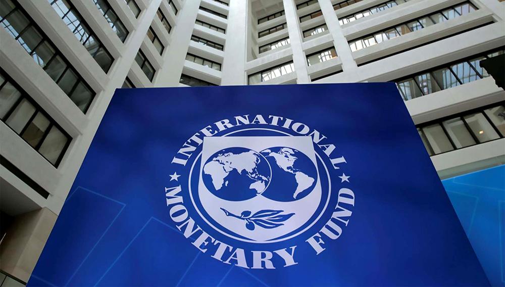 The International Monetary Fund logo is seen during the IMF/World Bank spring meetings in Washington, US, April 21, 2017. REUTERS/Yuri Gripas/Files