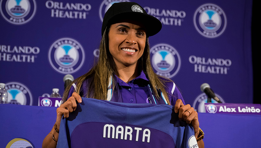 Orlando Pride forward Marta Vieira da Silva poses with a Pride jersey during a press conference to introduce set to introduce herself at the Marriott in Lake Mary on Friday, April 21, 2017. (Photo by Victor Tan / New Day Review)