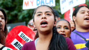 Rocio, a Deferred Action for Childhood Arrivals (Daca) recipient, shouts with supporters of the programme during a rally outside the Federal Building in Los Angeles on September 1, 2017. Kyle Grillot / Reuters