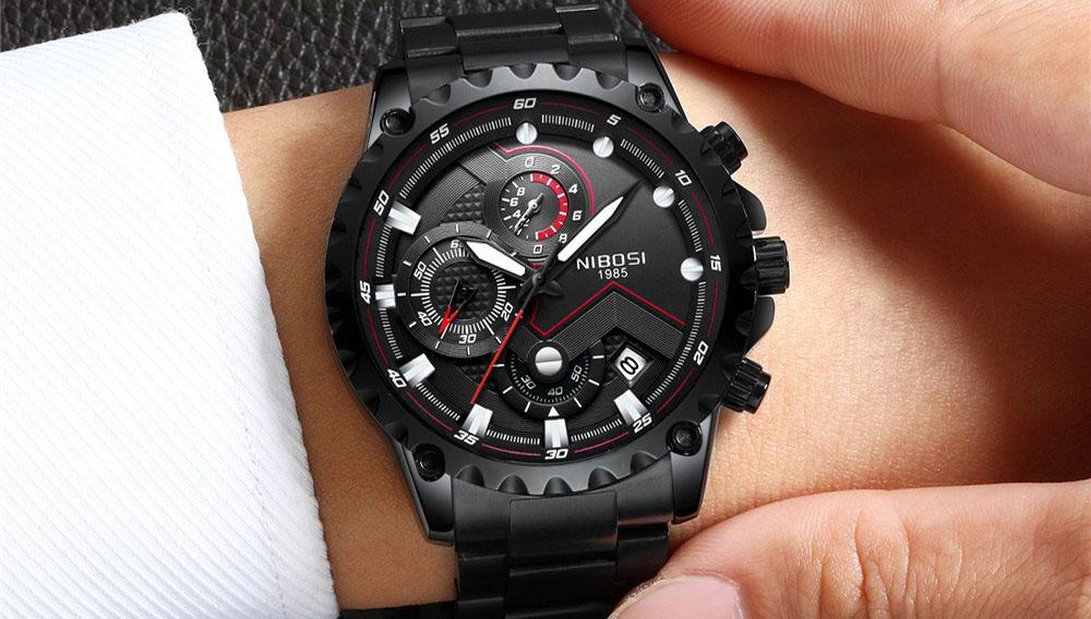 2018 NIBOSI Top Marque De Luxe Hommes En Acier Inoxydable Étanche Sport Montres Hommes de Quartz Analogique Horloge Mâle Bleu Montre-Bracelet hommes