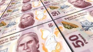 Pesos mexicains factures empilés fond. Généré par ordinateur photo rendu 3D. Photo: Piotr Pawinski (123rf.com)