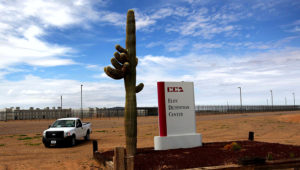 A cactus and sign mark the entrance to the Eloy Detention Facility for illegal immigrants on July 30, 2010 in Eloy, Arizona. (Photo by John Moore/Getty Images)
