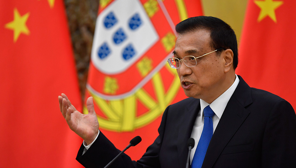 Chinese Premier Li Keqiang speaks during a joint press conference at the Great Hall of the People on Oct. 9, 2016 in Beijing, China. Naohiko Hatta — Pool/Getty Images