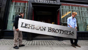 A Lehman Brothers sign up for auction in 2010. The bank's September 2008 collapse 'taught everyone that there's very little upside in keeping your exposure' says one hedge-fund manager. PHOTO: Oli Scarff/Getty Images