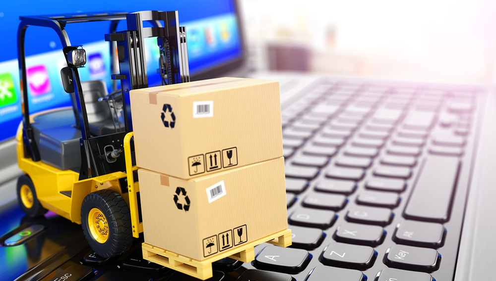 38652732 - concept of delivering, shipping or logistics. forklift on laptop keyboard. 3d