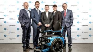 Bernhard Winter – Preisträger 2018. CEO von Scewo AG. v.l. Dr. Jörg Müller-Ganz, Thomas Gemperle, Bernhard Winter, Pascal Buholzer, Prof. Dr. Gian-Luca Bona. / Boris Adolf Photography