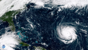 Hurricane Florence is moving toward the U.S. East Coast and has intensified to a Category 4 storm, with one-minute sustained winds of 130 mph. Photo: NOAA.GOV