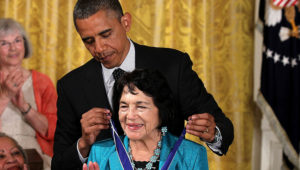 WASHINGTON, DC - MAY 29: Civil rights and women's advocate Dolores Huerta is presented with a Presidential Medal of Freedom by U.S. President Barack Obama during an East Room event May 29, 2012 at the White House in Washington, DC. The Medal of Freedom, the nation's highest civilian honor, is presented to individuals who have made especially meritorious contributions to the security or national interests of the United States, to world peace, or to cultural or other significant public or private endeavors. (Photo by Alex Wong/Getty Images)
