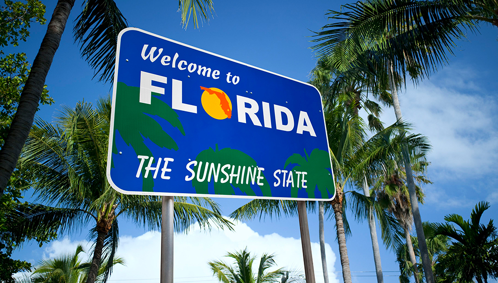 Welcome to Florida sign at the I10 Welcome Center, Florida, USA - Stock Image