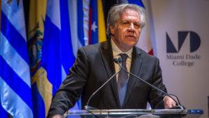 El secretario general de la Organización de Estados Americanos (OEA), Luis Almagro, habla durante su participación en el foro (Foto: EFE)