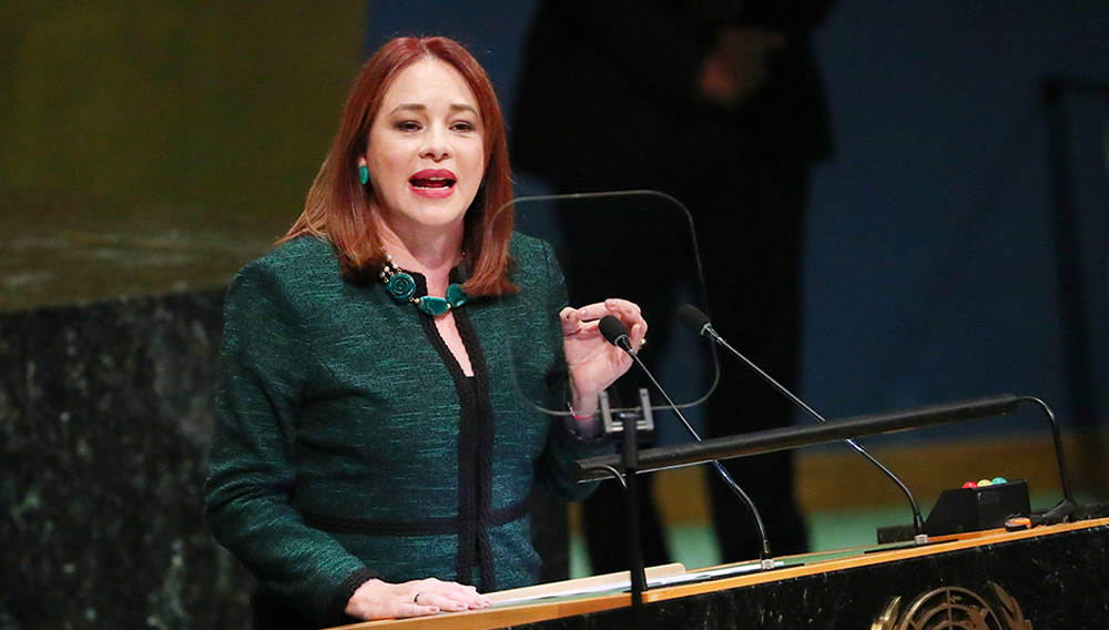 United Nations General Assembly President Maria Fernanda Espinosa Garces addresses the 73rd session of the United Nations General Assembly at U.N. headquarters in New York, U.S., September 25, 2018. REUTERS/Shannon Stapleton