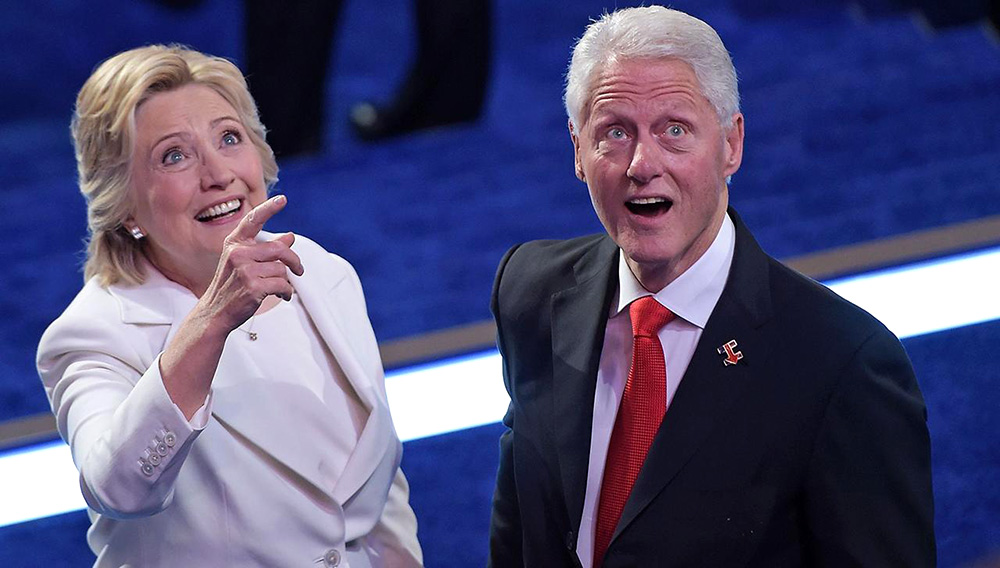 "A new play, called ""Hillary and Clinton,"" is expected to open on Broadway in April. The play is set in New Hampshire during the 2008 Democratic primaries. (BRENDAN SMIALOWSKI/AFP/Getty Images)"