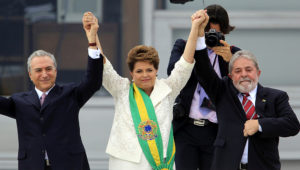 Happier times: Temer, Rousseff and Lula as Brazil's first female president is sworn into office in 2011. Paulo Whitaker/Reuters