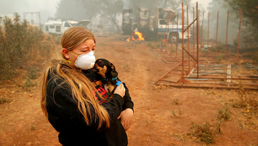 In this Nov. 10, 2018, photo, Arianne Harvey holds her dog T.J. near a truck still on fire from the Camp Fire in Paradise, Calif. Harvey was living in an RV near where her family's home was destroyed by the fire. For a while, Phillip and Krystin Harvey, who lost their mobile home, had been staying with Arianne and their two other teenage daughters in the camper, trying to hang on to a piece of the life they had known. Eventually the family gave up and moved to Oroville, Calif., to stay with friends to have some stability and security, their cousins Patrick Knuthson said. (AP Photo/John Locher) (AP)