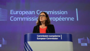 European commissioner for trade Cecilia Malmstrom adresses a press conference on World Trade Organization (WTO) reform and the Alliance for Torture-Free Trade at the European Commission in Brussels on September 18, 2018. (Photo by Aris Oikonomou / AFP)
