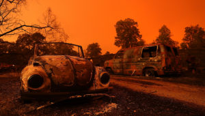 REDDING, CA - JULY 27: A view of cars that were destroyed by the Carr Fire on July 27, 2018 in Redding, California. A Redding firefighter and bulldozer operator were killed battling the fast moving Carr Fire that has burned over 44,000 acres and destroyed dozens of homes. The fire is 3 percent contained. (Photo by Justin Sullivan/Getty Images)
