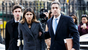 Mandatory Credit: Photo by JUSTIN LANE/EPA-EFE/REX/Shutterstock (10031463f) Michael Cohen (R), President Trump's former lawyer, arrives with his family for his sentencing hearing at United States Federal Court in New York, New York, USA, 12 December 2018. Michael Cohen Sentancing, New York, USA - 12 Dec 2018