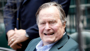 HOUSTON, TX - MAY 03: Former President George H.W. Bush in attendance as the Seattle Mariners play the Houston Astros at Minute Maid Park on May 3, 2015 in Houston, Texas. (Photo by Bob Levey/Getty Images)