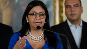Venezuelan Foreign Minister Delcy Rodriguez speaks during a press conference in Caracas on March 4, 2016. The aggression of the United States against Venezuela goes against the international law, said Rodriguez. AFP PHOTO/FEDERICO PARRA / AFP / FEDERICO PARRA