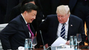 Chinese President Xi Jinping and U.S. President Donald Trump at a G20 summit meeting in Hamburg, Germany, on July 7, 2017. Photo: Kyodo
