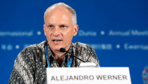 IMF Western Hemisphere Department Director Alejandro Werner answers questions from the media at the press briefing for the IMF's Western Hemisphere Department on Friday, October 12 during the 2018 IMF/World Bank Annual Meetings in Bali, Indonesia. Ryan Rayburn/IMF Photo