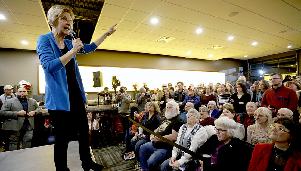 La senadora demócrata Elizabeth Warren en un evento en Council Bluffs, Iowa, el 4 de enero del 2019. (AP Photo/Nati Harnik)