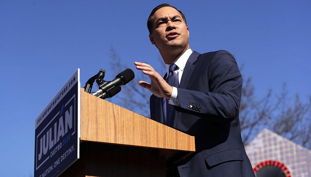 El político demócrata Julián Castro lanza su candidatura presidencial para el 2020 en San Antonio, Texas el 12 de enero del 2019. (AP Photo/Eric Gay)