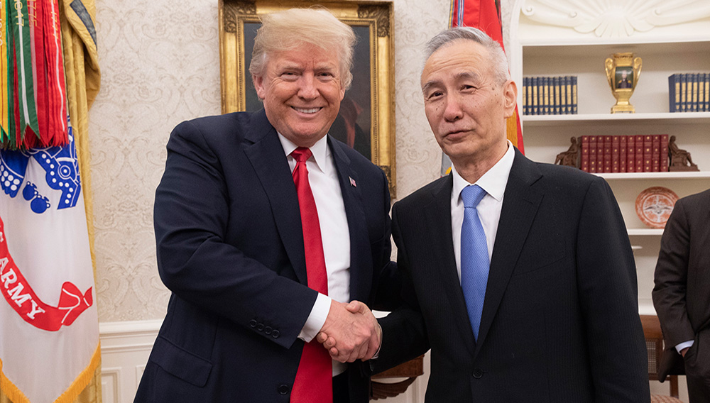US President Donald Trump tweeted this photo of him and Chinese Vice Premier Liu He on Thursday. The two were meeting to discuss trade.