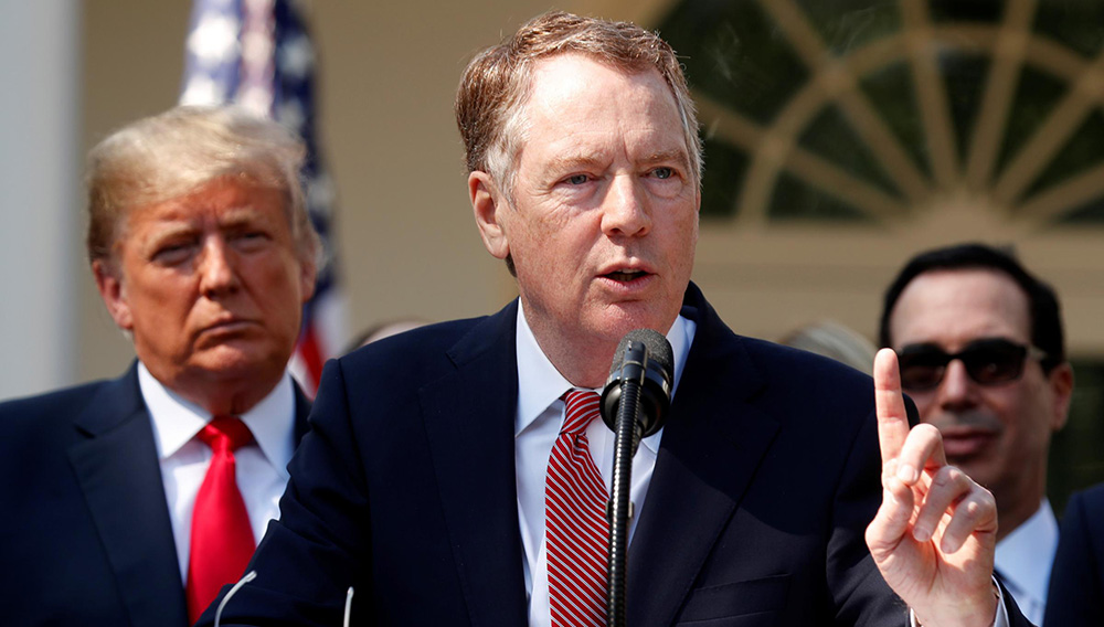 U.S. Trade Representative Robert Lighthizer discusses the United States-Mexico-Canada Agreement as President Trump and Treasury Secretary Steven Mnuchin look on Oct. 1, 2018. Lighthizer is now the chief U.S. negotiator in trade talks with China. KEVIN LAMARQUE / REUTERS