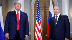 Donald Trump and Vladimir Putin front the media before their summit. Photo: AAP