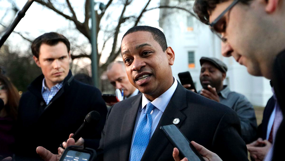 Virginia Lt. Gov. Justin Fairfax addresses the media about a sexual assault allegation from 2004 outside of the capital building in downtown Richmond on February 4, 2019. Logan Cyrus/AFP/Getty Images