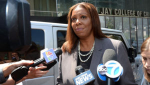 Public Advocate Letitia James talks to the press on May 8, 2018. (Andrew Savulich/New York Daily News)