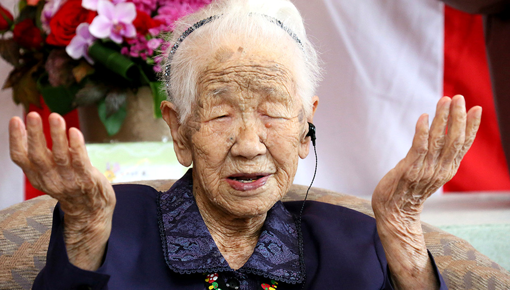 115-year-old Kane Tanaka, is praised for being the country's oldest person at a nursery home in Fukuoka on Sep.14, 2018. (The Yomiuri Shimbun via AP Images)