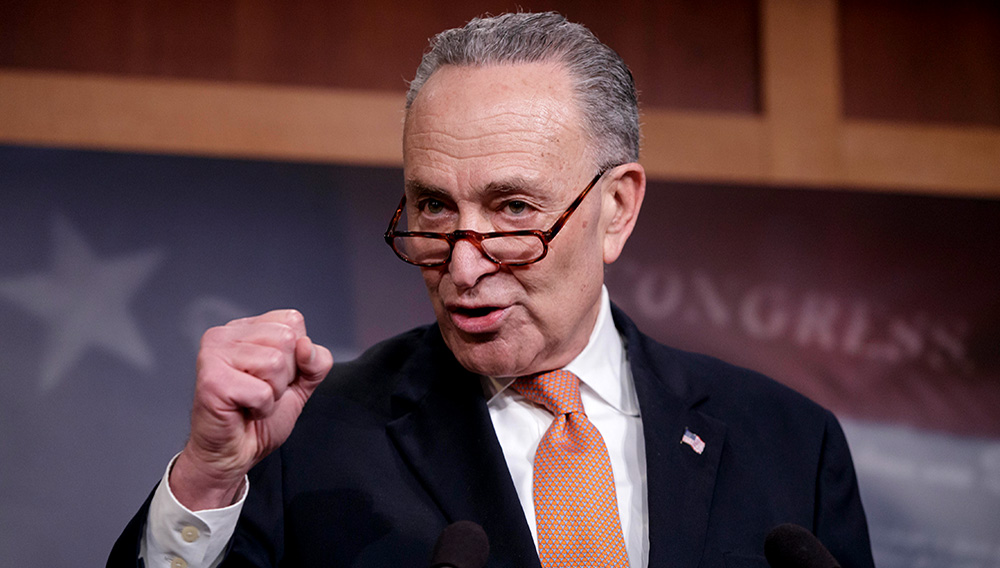 Senate Minority Leader Chuck Schumer, explains to reporters how his negotiations with President Donald Trump broke down during this press conference on Jan. 20, 2018.