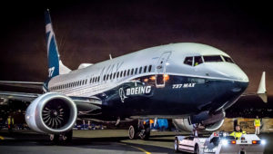 The first Boeing 737 MAX 7 at Boeing's Renton, Washington, factory. Boeing