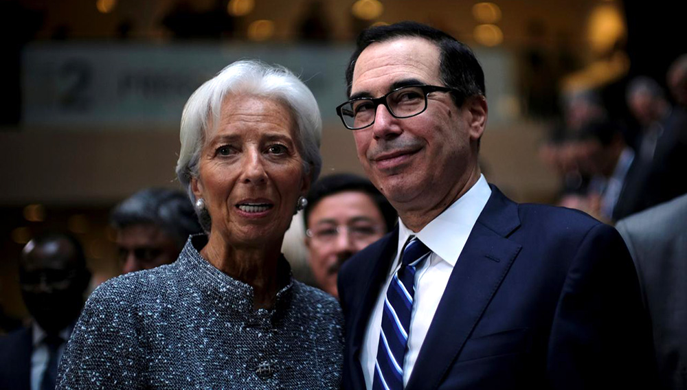 IMF Managing Director Christine Lagarde and U.S. Treasury Secretary Steven Mnuchin attend the IMF and World Bank's 2019 Annual Spring Meetings, in Washington, April 13, 2019. REUTERS/James Lawler Duggan