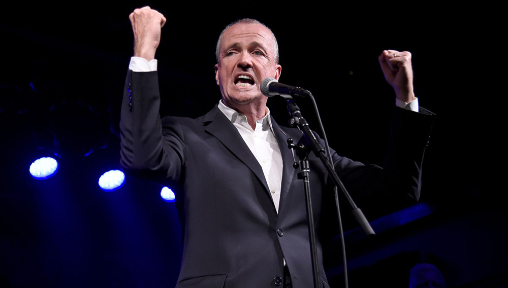 ASBURY PARK, NJ - JUNE 18: Governor of New Jersey Phil Murphy speaks onstage during the Grand Re-Opening of Asbury Lanes at Asbury Lanes on June 18, 2018 in Asbury Park, New Jersey. (Photo by Kevin Mazur/Getty Images for iStar)