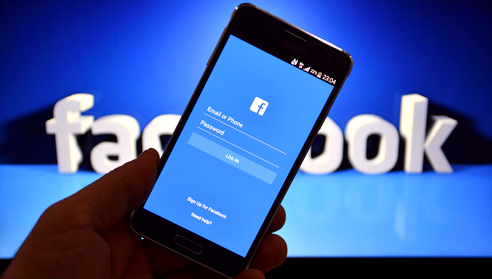 Facebook user login screen. Photo: Internet
