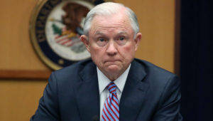 US Attorney General Jeff Sessions speaks about organized gang violence at the Department of Justice, in Washington, DC.