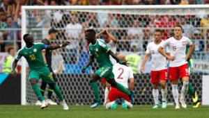Jugadores de Senegal celebran gol ante Polonia en la Copa del Mundo Rusia 2018.