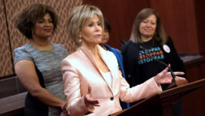 Jane Fonda, actress and activist, speaks at a news conference on women's rights at work and helping to protect domestic and farmworkers against sexual harassment and discrimination, on Capitol Hill in Washington, D.C., on Thursday. Photo by Kevin Dietsch/UPI | License Photo