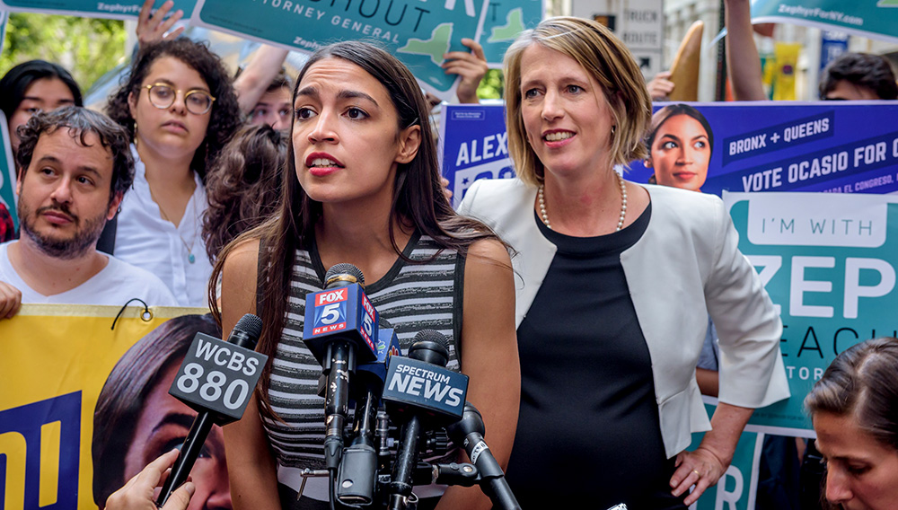 Congressional nominee Alexandria Ocasio-Cortez stands with Zephyr Teachout after endorsing her for New York City Public Advocate on July 12, 2018 in New York City. Pacific Press/LightRocket via Getty Images