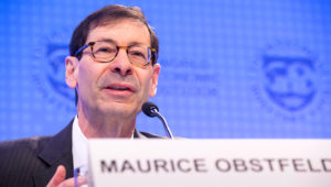International Monetary Fund Economic Counsellor Maurice Obstfeld answers questions during the World Economic Outlook Press Conference at the IMF Headquarters during the 2018 IMF/World Bank Spring Meetings April 17, 2018 in Washington, DC. IMF Staff Photograph/Stephen Jaffe