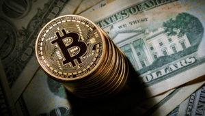 BERLIN, GERMANY - FEBRUARY 15: In this photo illustration model Bitcoins lying on Dollar bills on February 15, 2016 in Berlin, Germany. (Photo Illustration by Thomas Trutschel/Photothek via Getty Images)