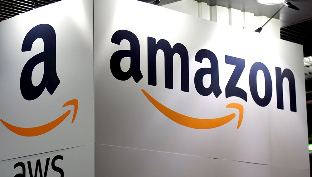 The Amazon logo is seen at the Young Entrepreneurs fair in Paris, France, February 7, 2018. REUTERS/Charles Platiau