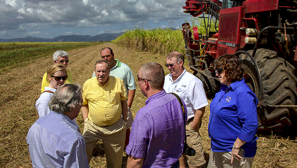 U.S. agricultural representatives and political figures from farming states visit the 30 November Sugar Center in Artemisa, Cuba, Tuesday, March 3, 2015. (AP Photo/Ramon Espinosa)
