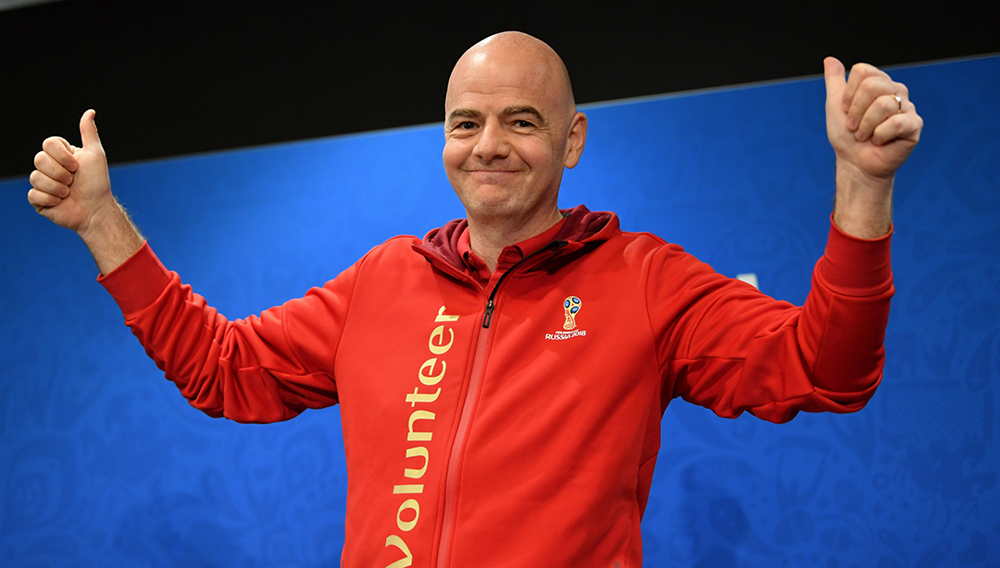 President Gianni Infantino gives a thumbs up at a press conference during the 2018 FIFA World Cup at Luzhniki Stadium on July 13, 2018 in Moscow, Russia. Getty Images.